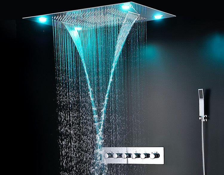 Ceiling Mounted Led Rain Showers Heads Bathroom Water